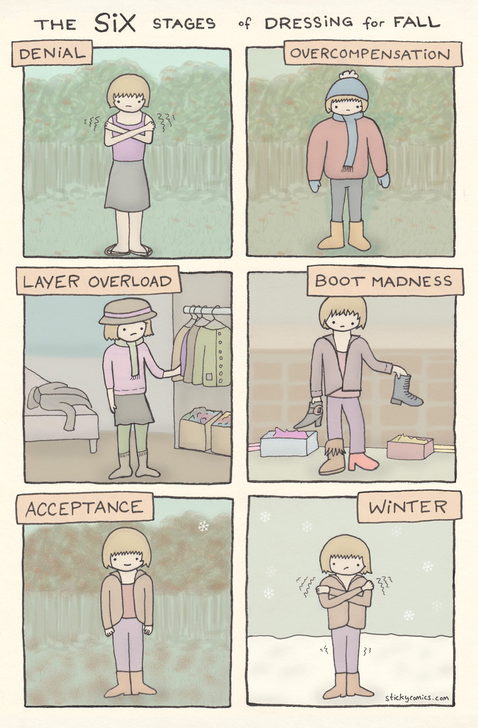 6 emotional stages of dressing for Fall