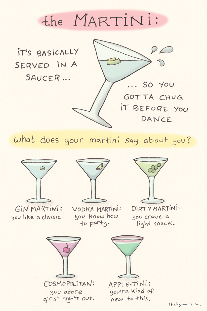 """what does your martini say about you? other than """"hey, I can hold a saucer full of booze without spilling!"""" of course..."""