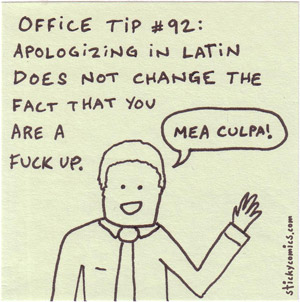 mea culpa - apologizing in latin