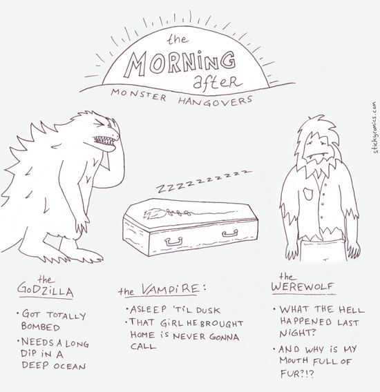 monster hangovers: the godzilla, the vampire, and the warewolf
