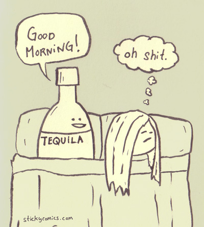 morning after tequilla in bed