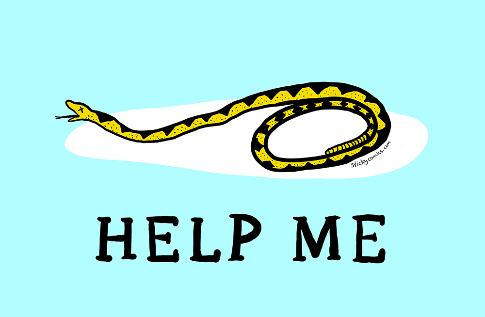 "Gasden flag snake (""Don't Tread On Me"" snake) is dying out in the cold. ""HELP ME"""