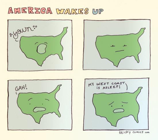 america wakes up - west coast is asleep