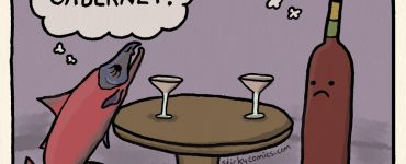 """Salmon and Merlot sitting down to drinks. Salmon is thinking, """"UGH! Cabernet."""" Merlot is thinking, """"Salmon?!? Really?"""". Caption: Bad Wine Pairing."""