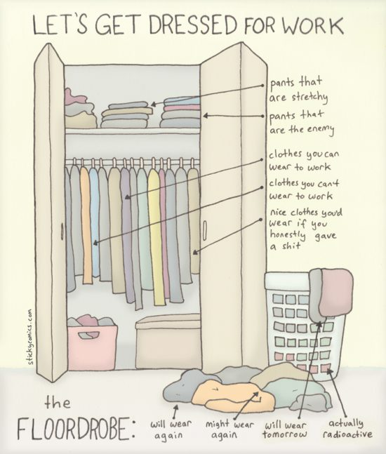 Depicted: a closet that is actually 50% tidier than my actual closet