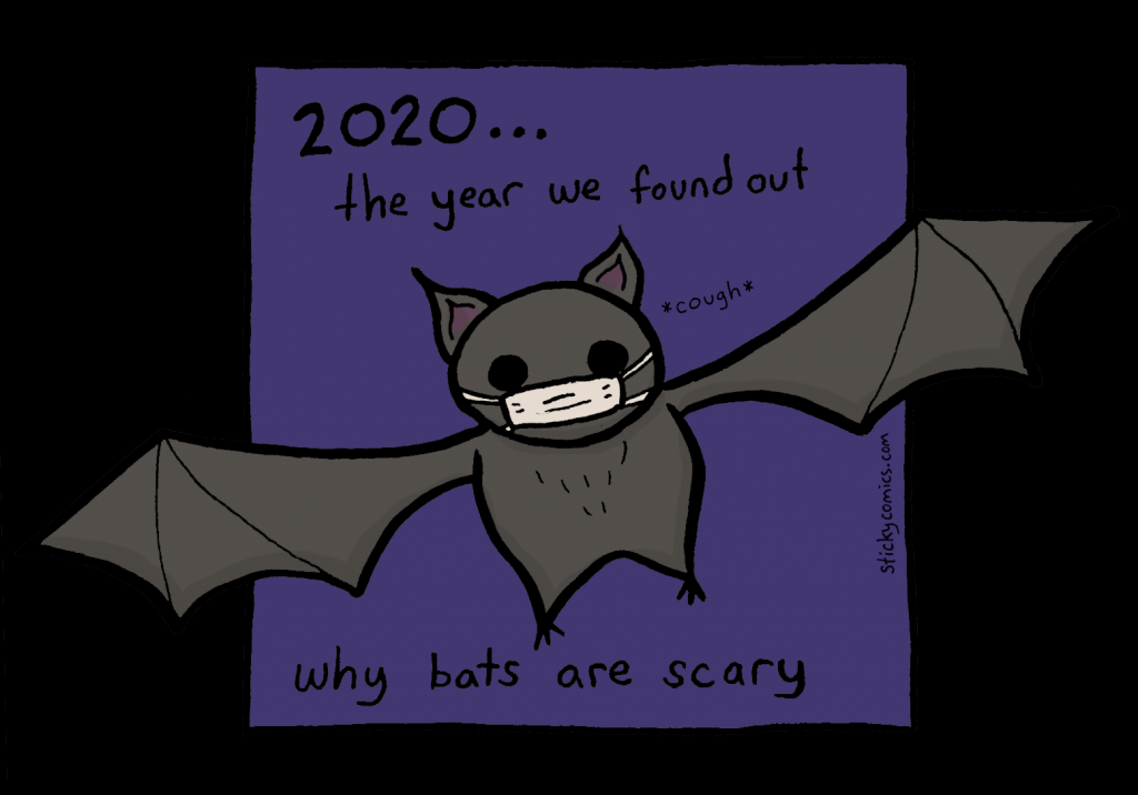 (bat wearing face mask, coughing) 2020... the year we found out why bats are scary.