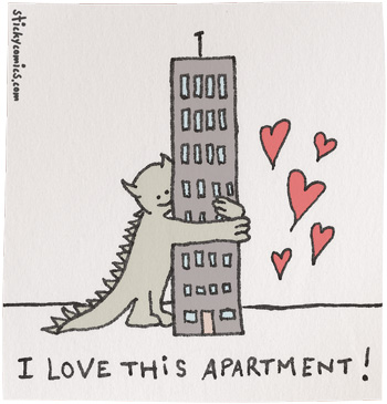 cute monster loves apartment building