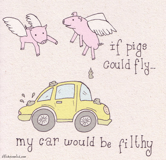 if pigs could fly, my car would be filthy