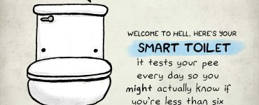 """Toilet says: """"Congratulations, You Are Not Pregnant."""" Caption: """"Congratulations, here's your Smart Toilet. It tests your pee every day so you MIGHT actually know if you're less than six weeks pregnant."""""""