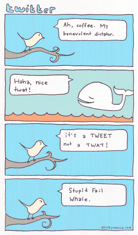 twitter comic - twitter bird and fail whale talk about tweets